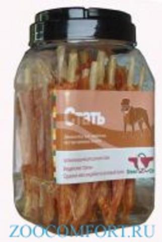 Грин Кьюзин 060 Лакомство д\собак Стать (сушеное мясо индейки на воловьей коже) туба 750гр*6