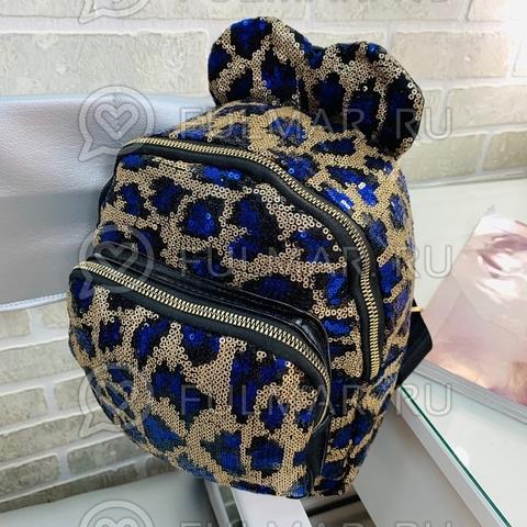 Рюкзак детский в блёстках леопардовый с синим с ушками (25х22х10 см)