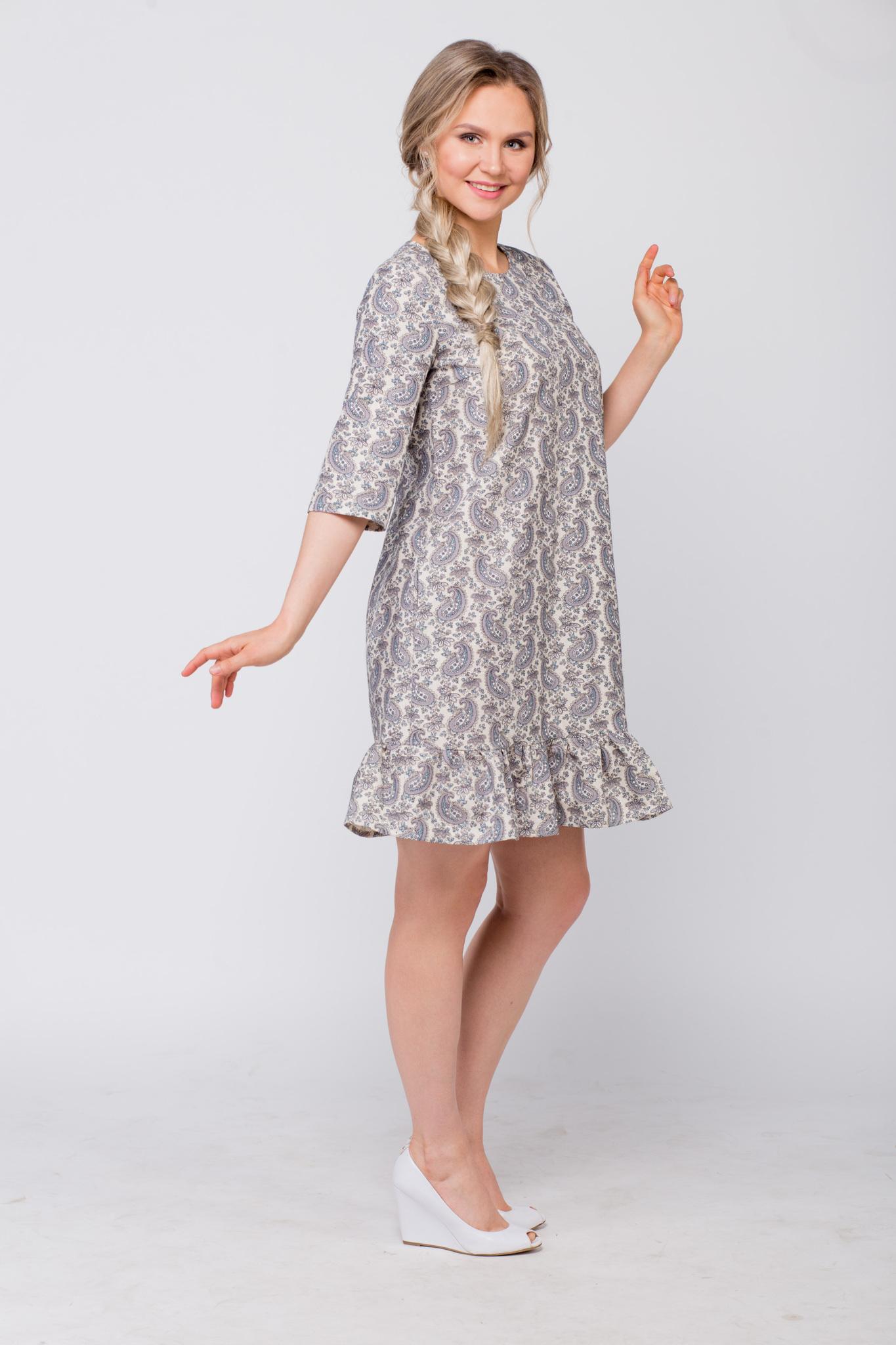 Платье льняное Огурцы купить вид сбоку