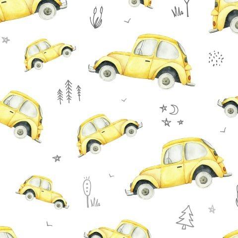 Жёлтые машинки на белом фоне