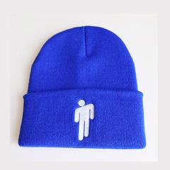 Вязаная шапка с отворотом и вышивкой Билли Айлиш (Billie Eilish) синяя