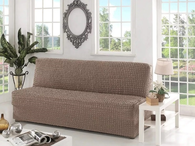 Чехол на диван без подлокотников, какао