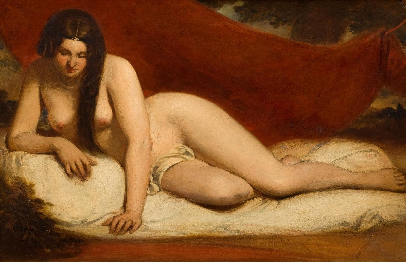 Уильям Этти. Лежащая обнаженная (Reclining Female Nude). 35.6 x 55.2. Частное собрание.