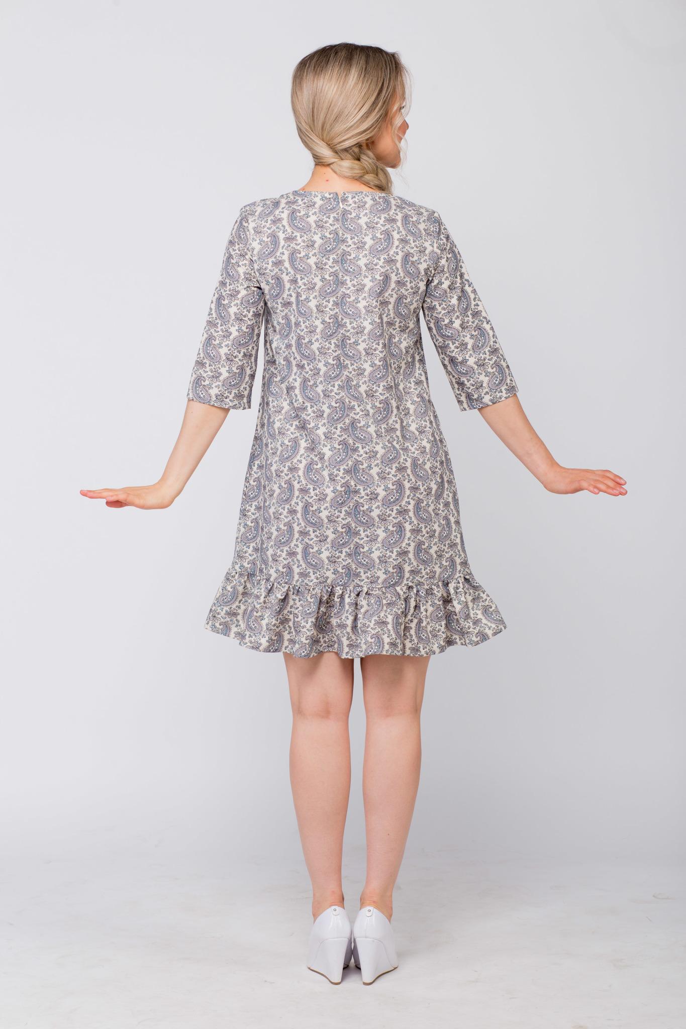 Платье льняное Огурцы вид сзади