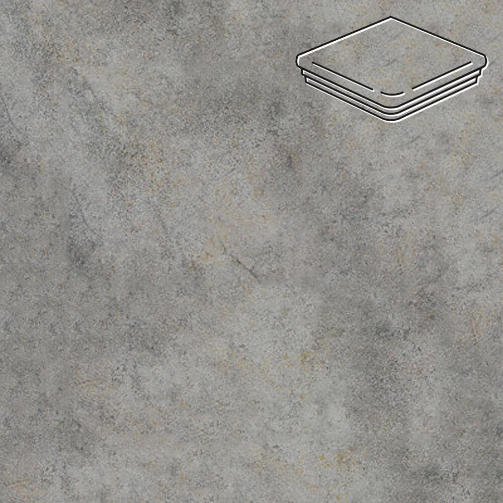 Interbau - Nature Art, Quarz grau/Серый 320x320x9,5, цвет 119 - Ступень флорентийская угловая