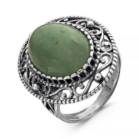 Кольцо с нефритом и серебрением