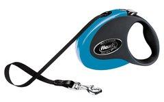 Поводок-рулетка Flexi Collection S (до 12 кг) 3 м лента черная/голубая