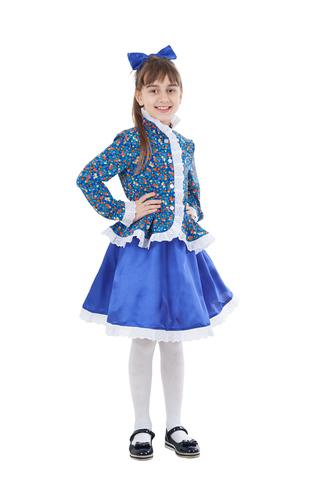 Карнавальный костюм детский Казачка в синем