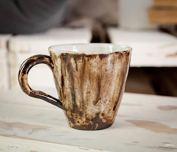 CUP106 Красивая кружка из глины для чая и кофе ручной работы (180 мл)
