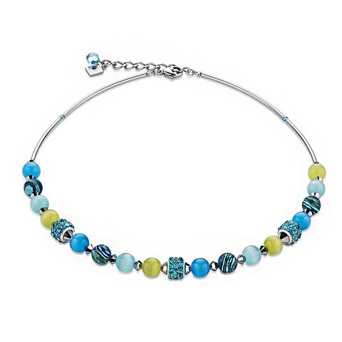 Колье Coeur de Lion 4816/10-0605 цвет синий, голубой, жёлтый