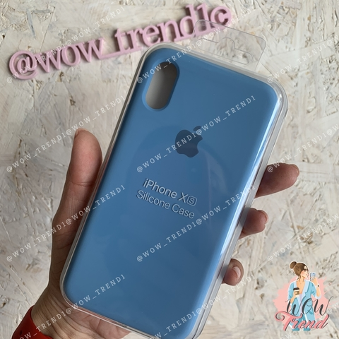 Чехол iPhone X/XS Silicone Case /cornflower/ синие сумерки 1:1