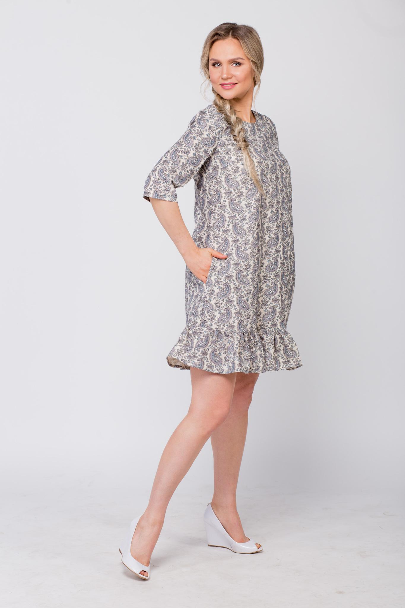Платье льняное Огурцы вид сбоку