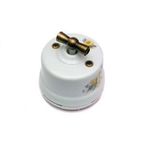 Выключатель одноклавишный проходной, для наружного монтажа. Цвет Ромашка. Salvador. OP11RM
