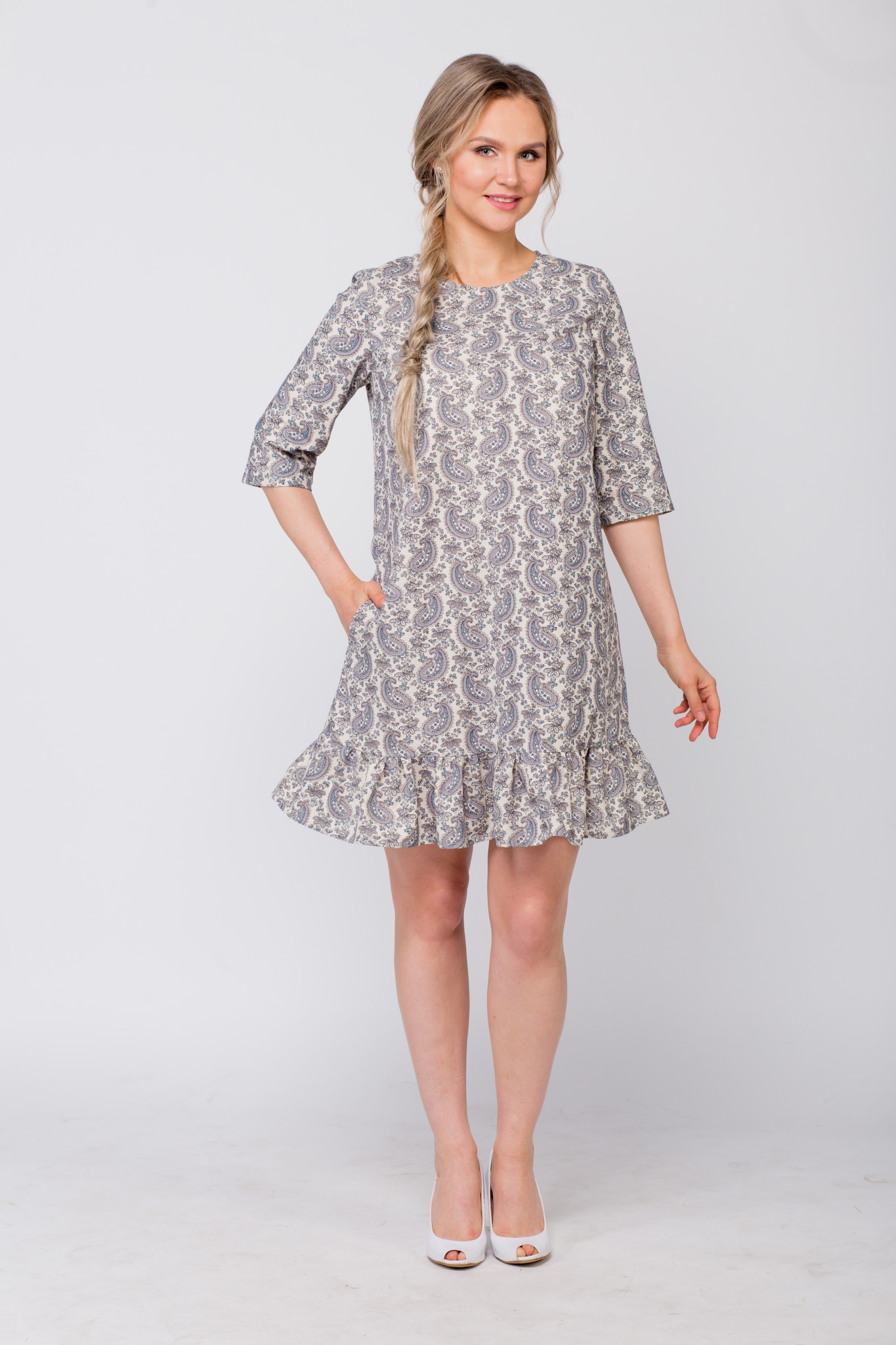 Платье льняное Огурцы с карманом