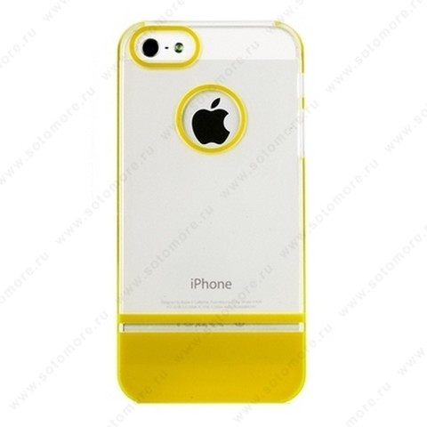 Накладка MOBILE 7 для iPhone SE/ 5s/ 5C/ 5 белый верх желтый низ