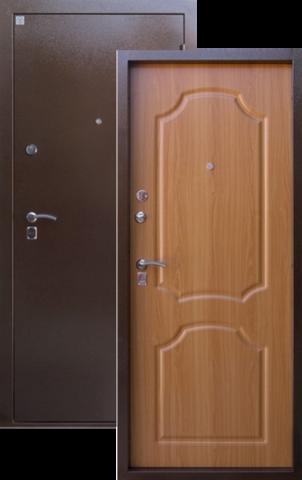 Дверь входная Опал стальная, миланский орех, 2 замка, фабрика Алмаз