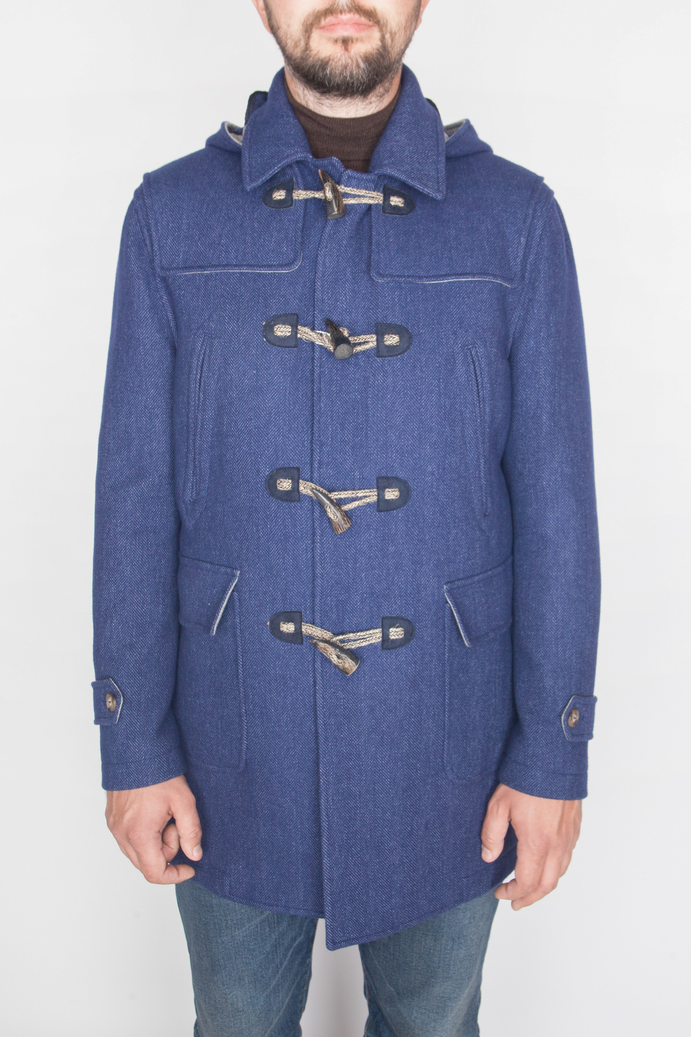 Повседневное синее шерстяное пальто
