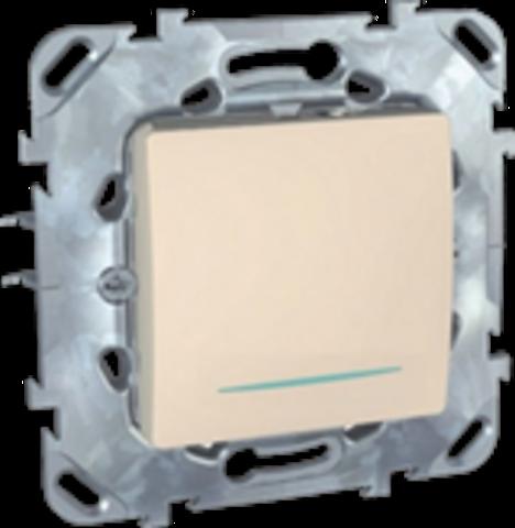 Выключатель одноклавишный промежуточный с подсветкой - Перекрестный переключатель одноклавишный с подсветкой. Цвет Бежевый. Schneider electric Unica. MGU5.205.25NZD