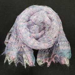Оренбургский пуховый палантин розового оттенка 23