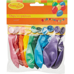 Шары надувные Металлик разноцветные 10 штук