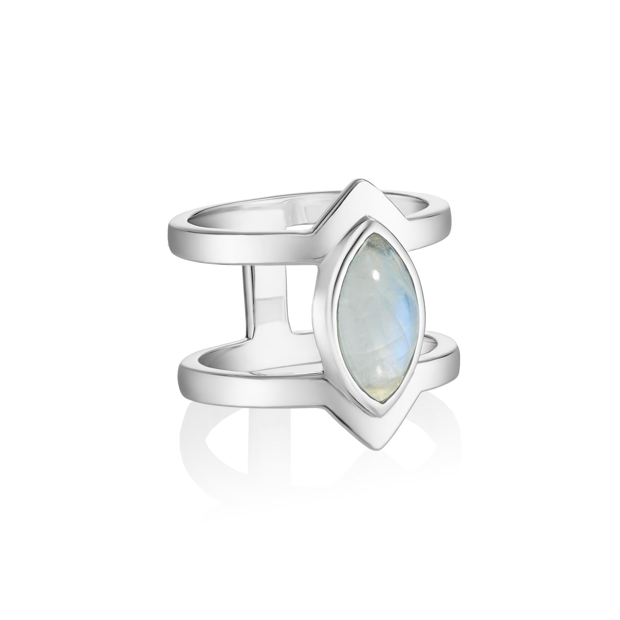 Кольцо PETALA двойное - Лунный камень