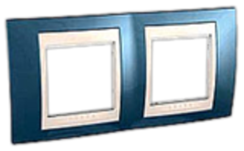 Рамка на 2 поста. Цвет Голубой лёд/бежевый. Schneider electric Unica Хамелеон. MGU6.004.554