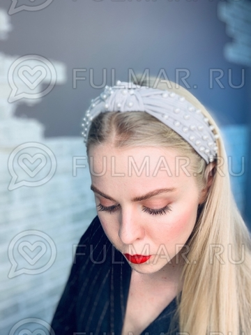 Серый Ободок чалма для волос с искусственным жемчугом