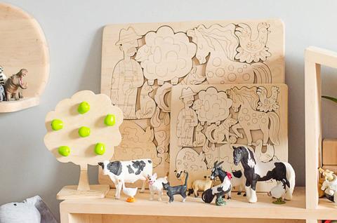 Набор большая деревянная азбука, цифры и большой пазл домашние животные