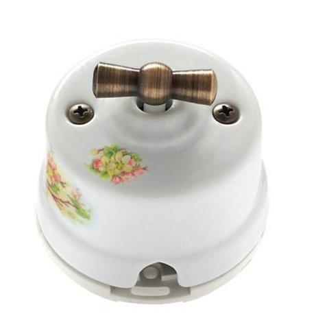 Выключатель одноклавишный проходной, для наружного монтажа. Цвет Яблоня. Salvador. OP11AP