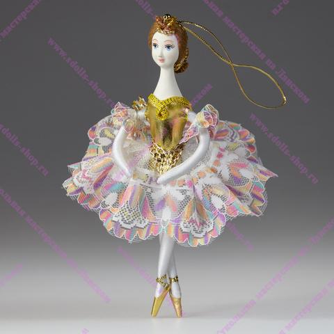 Ёлочная игрушка Балерина цветная кружевная
