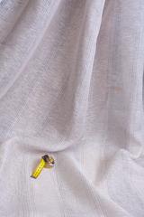 Льняная вуаль РОЗОВО-СЕРАЯ меланжевая полоска