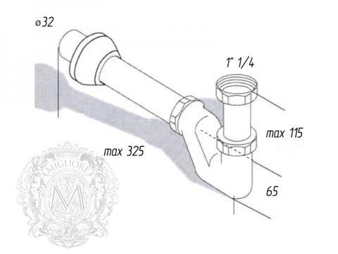 Сифон для раковины и биде,  MIGLIORE  ML.RIC-10.100 схема