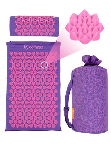 Набор массажный акупунктурный коврик + подушка Comfox (фиолетовый)
