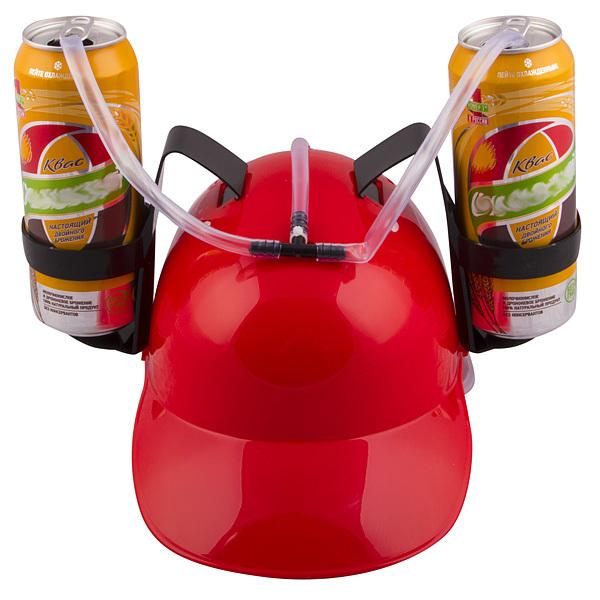 каска с подставками под банки пива рыбалку пивом не испортишь Каска с подставками под банки пива, Красная