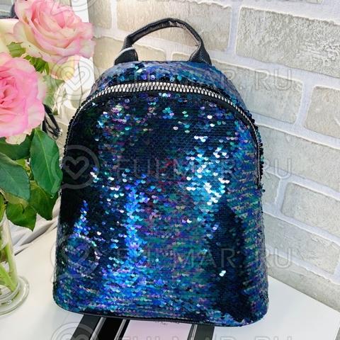 Большой школьный рюкзак для девочки в пайетках Синий блестящий