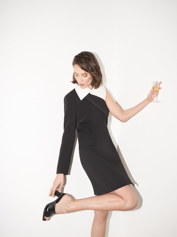 Платье-жакет Leona на одно плечо, Черный