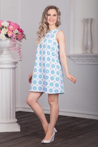 Платье хлопковое Дымковская игрушка (лазурные горошины) вид сбоку