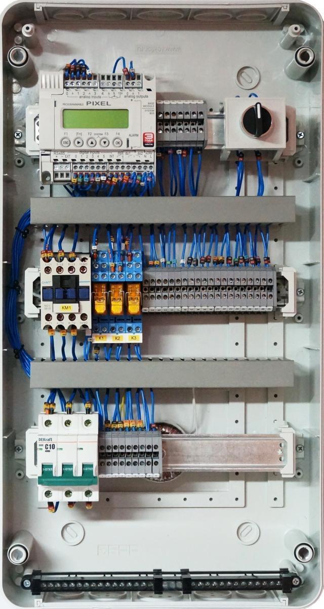 Шкаф автоматики LK для управления приточно-вытяжной системой вентиляции с роторным рекуператором с использованием дополнительных секций.
