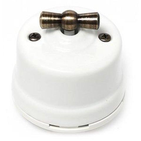 Выключатель двухклавишный, для наружного монтажа. Цвет Белый. Salvador. OP21WT