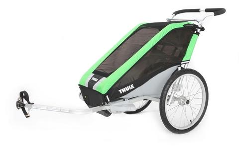 Картинка коляска Thule Chariot Cheetah1 в комплекте с велосцепкая зеленая