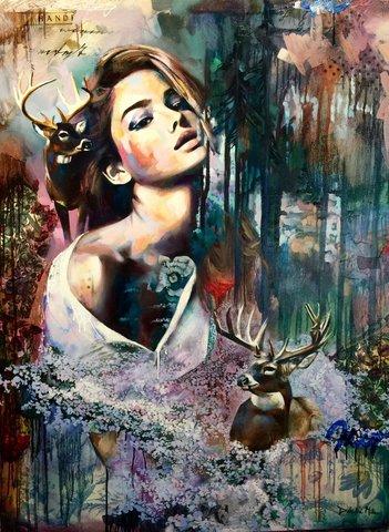 Картина раскраска по номерам 40x50 Разноцветная девушка с оленями