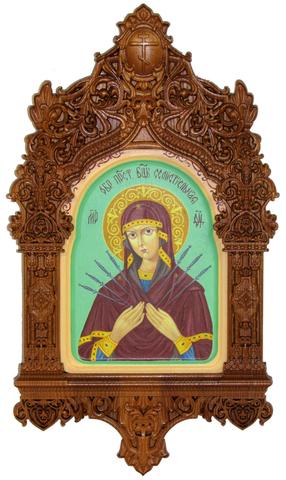 Рукописная икона Образ Божией Матери Семистрельная на кипарисе 20х15см в резном киоте
