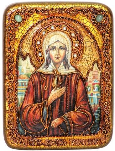 Инкрустированная икона Святая Блаженная Ксения Петербургская 20х15см на натуральном дереве в подарочной коробке