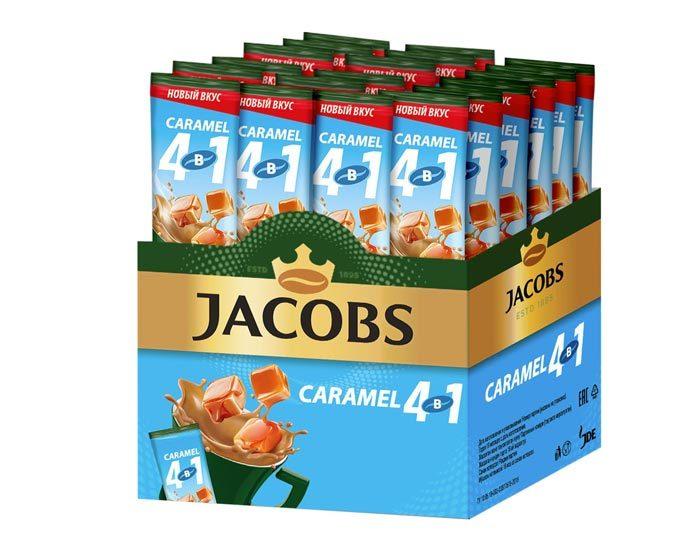 Кофе растворимый Jacobs 4 в 1 Caramel, 24 стика