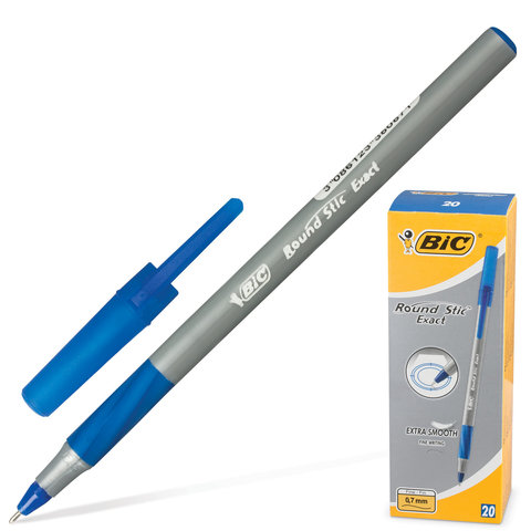 """Ручка шариковая BIC """"Round Stic Exact"""", корпус серый, узел 0,8 мм, линия 0,3 мм, резиновый упор, син"""
