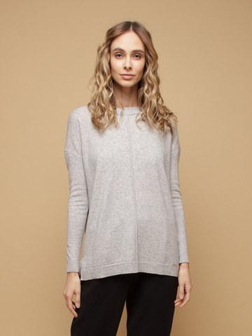 Женский джемпер светло-серого цвета свободного кроя из шерсти и кашемира - фото 2