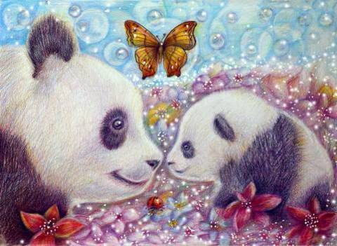 Алмазная Мозаика 40x50 Семья панд