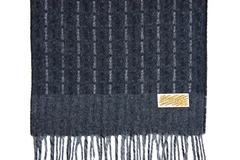 Шерстяной шарф, мужской черно-серый 30341