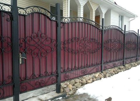 Кованый забор с поликарбонатом N-1