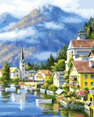 Альпийская деревня раскраски по номерам